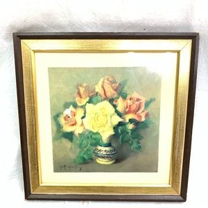 Other - VTG Botanical floral artwork painting 13x13